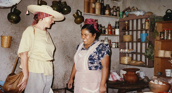 Diana Kennedy with one of her Mexican cook friends.