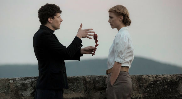 Jesse Eisenberg as Marcel and Clemence Poesy as Emma in Resistance.