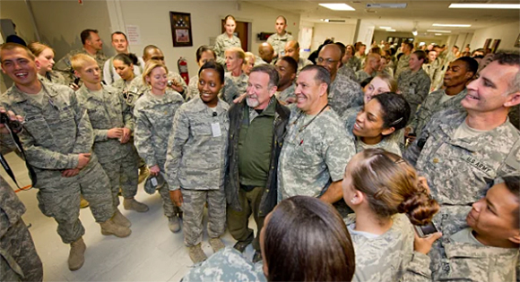 Robin Williams on a USO tour to visit American troops