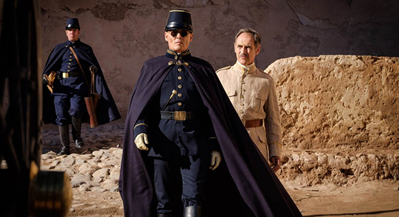 Johnny Depp as Colonel Joll and Mark Rylance as The Magistrate
