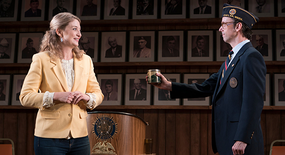Heidi Schreck with Mike Iveson as the American Legion moderator