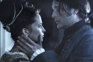 Alicia Vikander as Caroline Mathilde and Mads Mikkelsen as Johann Friedrich Struensee