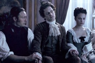 Mads Mikkelsen as Johann Friedrich Struensee , Mikkel Boe Folsgaard as Christian VII and Alicia Vikander as Caroline Mathilde