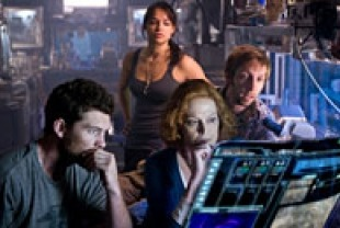 Sam Worthington as Jake, Sigourney Weaver as Dr. Grace Augustine, Michelle Rodriguez as Trudy Chacon, and Joel Dvid Moore as Norm