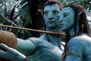 Sam Worthington as Jake and Zoe Saldana as Neytiri