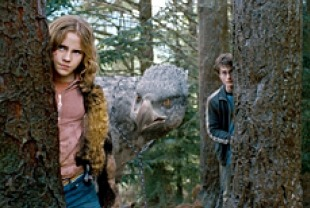 Emma Watson as Hermione, the Hippogriff, and Daniel Radcliffe as Harry Potter