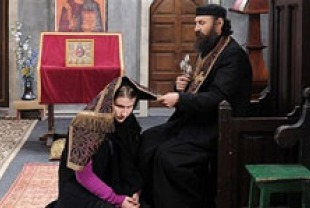 Cristina Flutur as Alina and Valeriu Andriuta as the priest