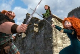 King Fergus voiced by Billy Connolly, Queen  Elinor voiced by Emma Thompson and Merida voiced by Kelly Macdonald