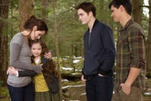 Kristen Stewart as Bella, Mackenzie Foy as  Renesmee, Robert Pattinson as Edward and Taylor Lautner as Jacob