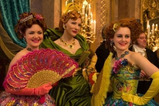 Holliday Grainger as Anastasia, Cate Blanchett as STepmother and Sophie McShera as Drisella