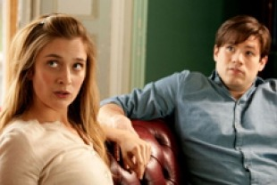 Caitlin Fitzgerald as Priss and Ryan Metcalf as Frank