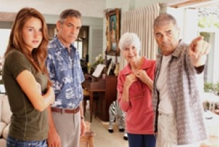 Shailene Woodley as Alex, George Clooney as Matt, Barbara L. Southern as Alice and Robert Forster as Scott