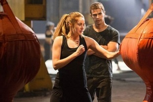 Shailene Woodley as Tris and Theo James as Four