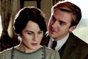 Michelle Dockery as Lady Mary and Dan Stevens as Matthew