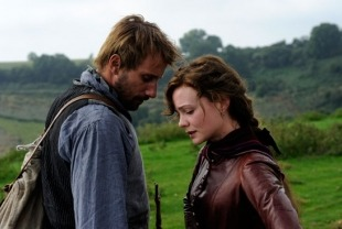 Matthias Schoenaerts as Gabriel and Carey Mulligan as Bathsheba