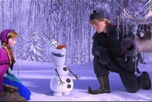Kristen Bell as Anna, Josh Gad as Olaf, Jonathan Groff as Kristoff and Sven the reindeer
