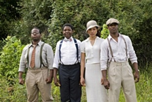 The Wiley College Debate Team - Jermaine Williams as Hamilton Burgess, Denzel Whitaker as James Farmer Jr., Jurnee Smollett as Samantha Brooke, and Nate Parker as Henry Lowe