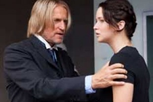 Woody Harrelson as Haymitch and Jennifer Lawrence as Katniss