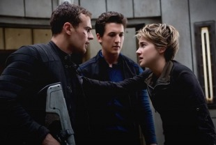 Theo James as Four, Miles Teller as Peter and Shailene Woodley as Tris