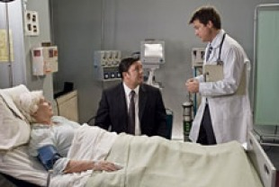 Fionnula Flanagan as Mark's mother, Ricky Gervais as Mark, and Jason Bateman as Doctor