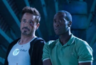 Robert Downey Jr. as Tony Stark and Don Cheadle as Rhodes