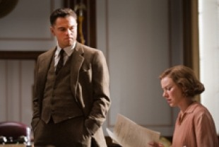 Leonardo DiCaprio as J. Edgar Hoover and Naomi Watts as Helen Gandy