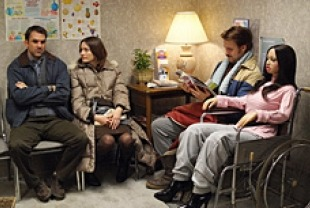 Paul Schneider as Paul, emily Mortimer as Karin, Ryan Gosling as Lars, and Bianca