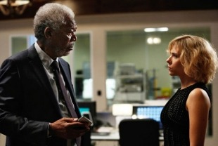 Morgan Freeman as Professor Norman and Scarlett Johansson as Lucy
