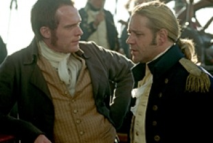 Russell Crowe as Aubrey and Paul Bettany as Maturin