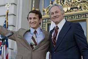 Sean Penn as Harvey Milk and Victor Garber as George Moscone