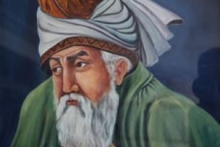 Painting of Jalaluddin Rumi by a contemporary Afghan painter