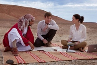 Amr Waked as Sheikh Muhammad, Ewan McGregor as Alfred and Emily Blunt as Harriett