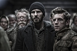 John Hurt as Gilliam, Chris Pine as Curtis, and Jamie Bell as Edgar