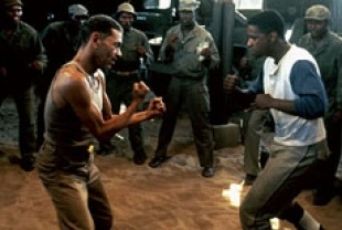 Aldoph Ceasar as Sergeant Vernon and Denzel Washington as Private Melvin