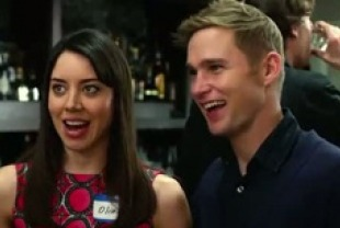 Aubrey Plaza as Olivia and Brian Geraghty as Garrity