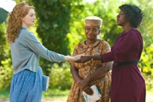 Emma Stone as Skeeter, Viola Davis as Aibileen and Octavia Spencer as Minny
